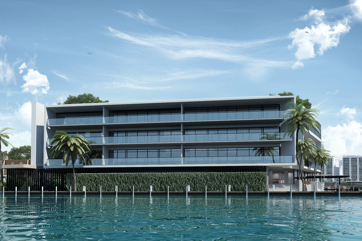 Rendering of a modern condo on the water in North Miami
