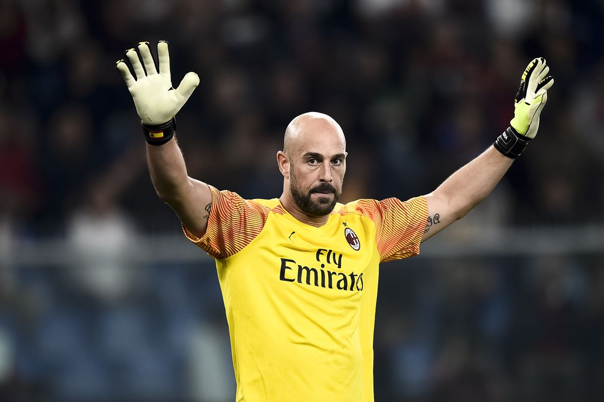Pepe Reina of AC Milan gestures during the Serie A football...