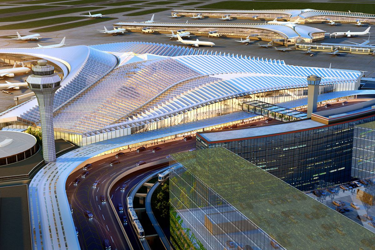 """A rendering of the planned new Terminal 2, the """"global terminal,"""" at O'Hare Airport."""