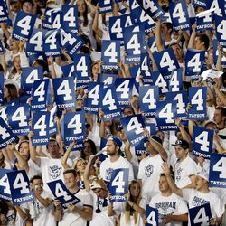 """BYU students hold up a number 4 as they chant """"Taysom Hill"""" as BYU and Boise State play Saturday, Sept. 12, 2015, at LaVell Edwards Stadium in Provo."""
