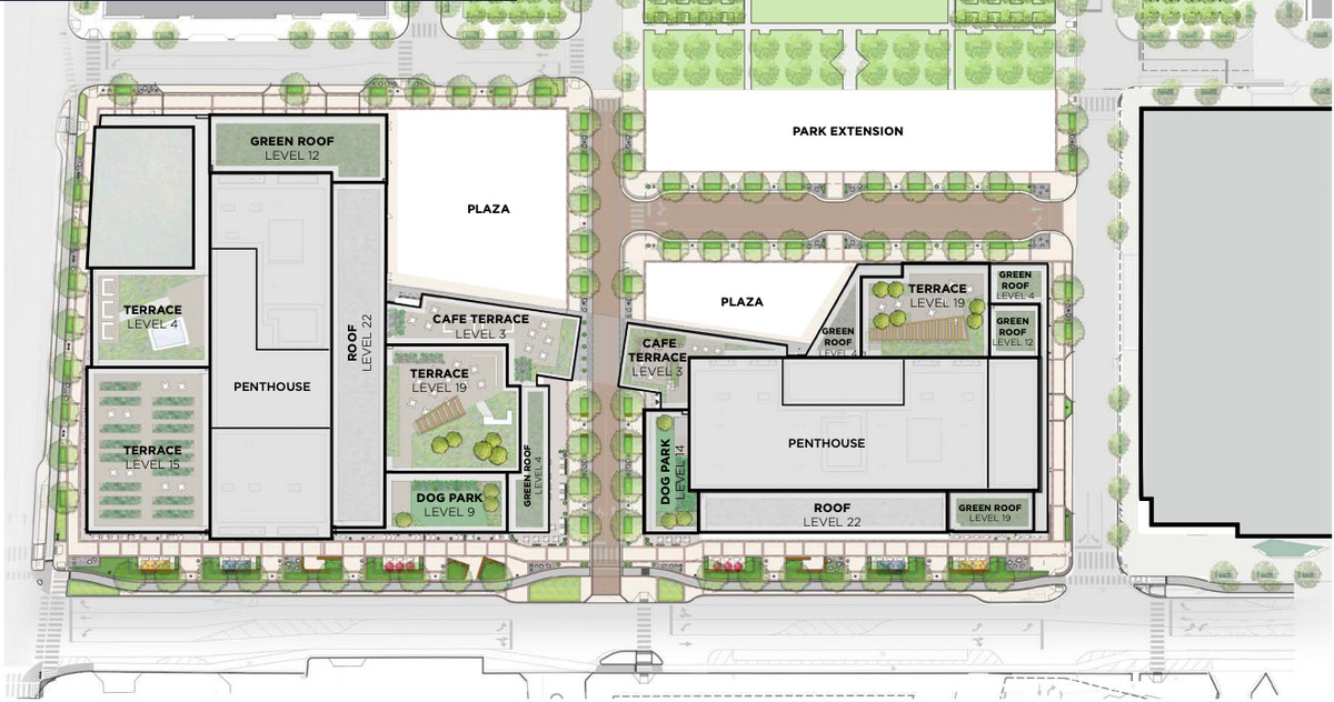 A map of proposed rooftop uses for an office project.
