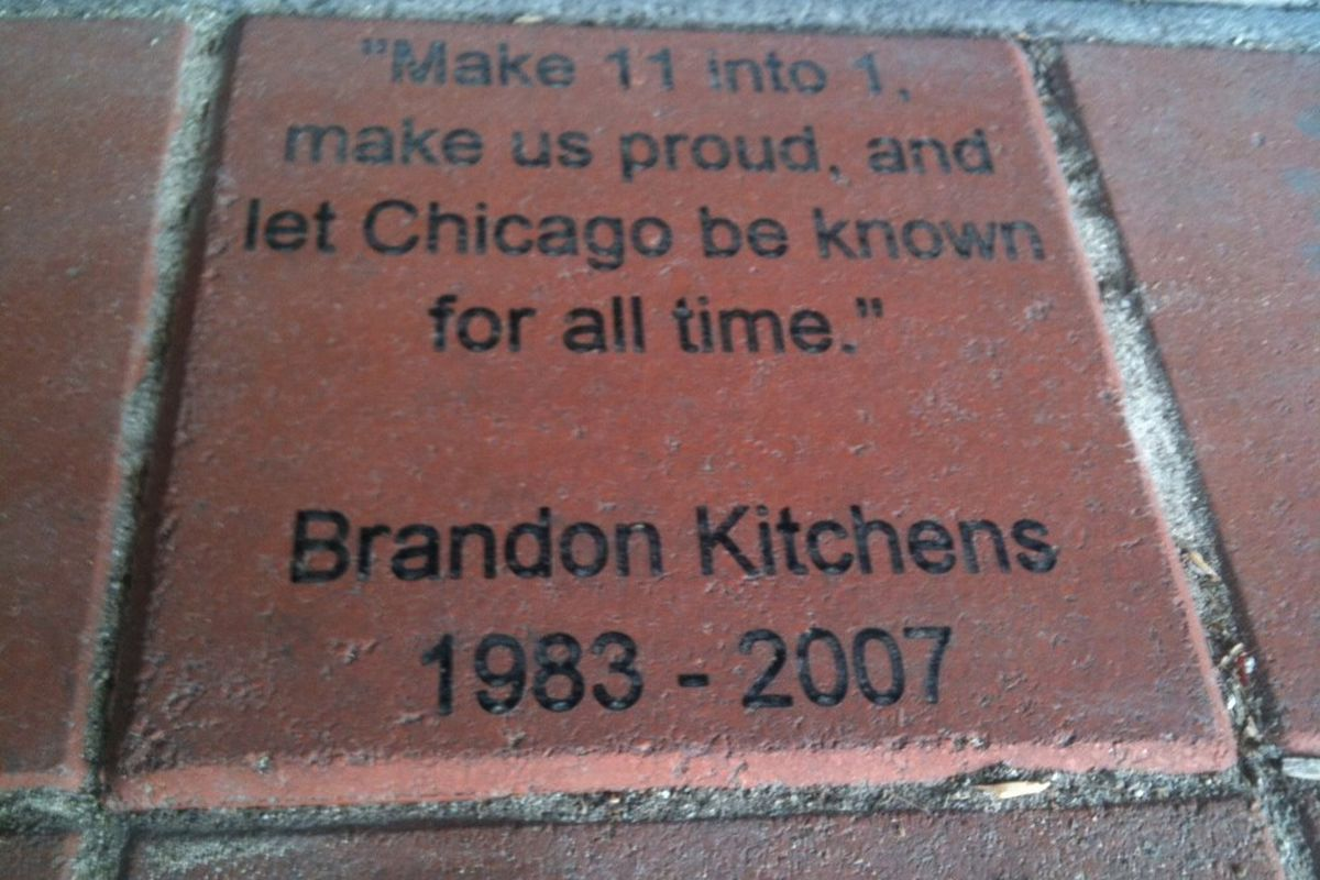 Commemorative brick outside of Toyota Park honoring Brandon Kitchens and Stand and Deliver