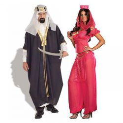 """Nothing says Halloween fun like an offensive stereyptype. If """"Arab Sheik"""" and his Fergie-esque partner """"Genie May K. Wish"""" here strike you as too subtle and classy, you could also try """"Hung Lo"""" and """"Orient Seduction.&quo"""