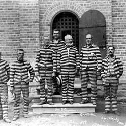 This photo taken in November 1888 shows LDS Church polygamists, including George Q. Cannon, center, at the Utah Territorial Prison in Sugar House.