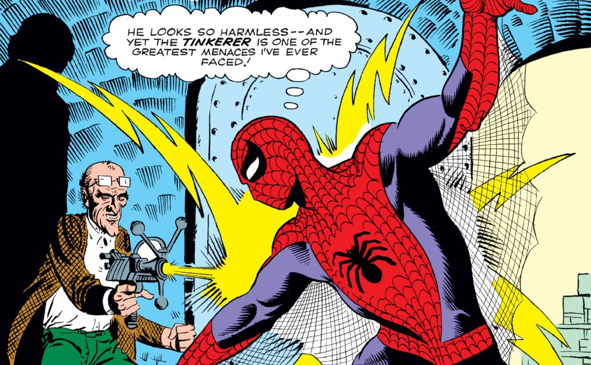 """He looks so harmless — and yet the Tinkerer is one of the greatest menaces I've ever faced!"" thinks Spider-Man as the Tinkerer, an old, balding man with glasses, fires a ray at him from a weird techno gun, in Amazing Spider-Man #2, Marvel Comics (1963)."