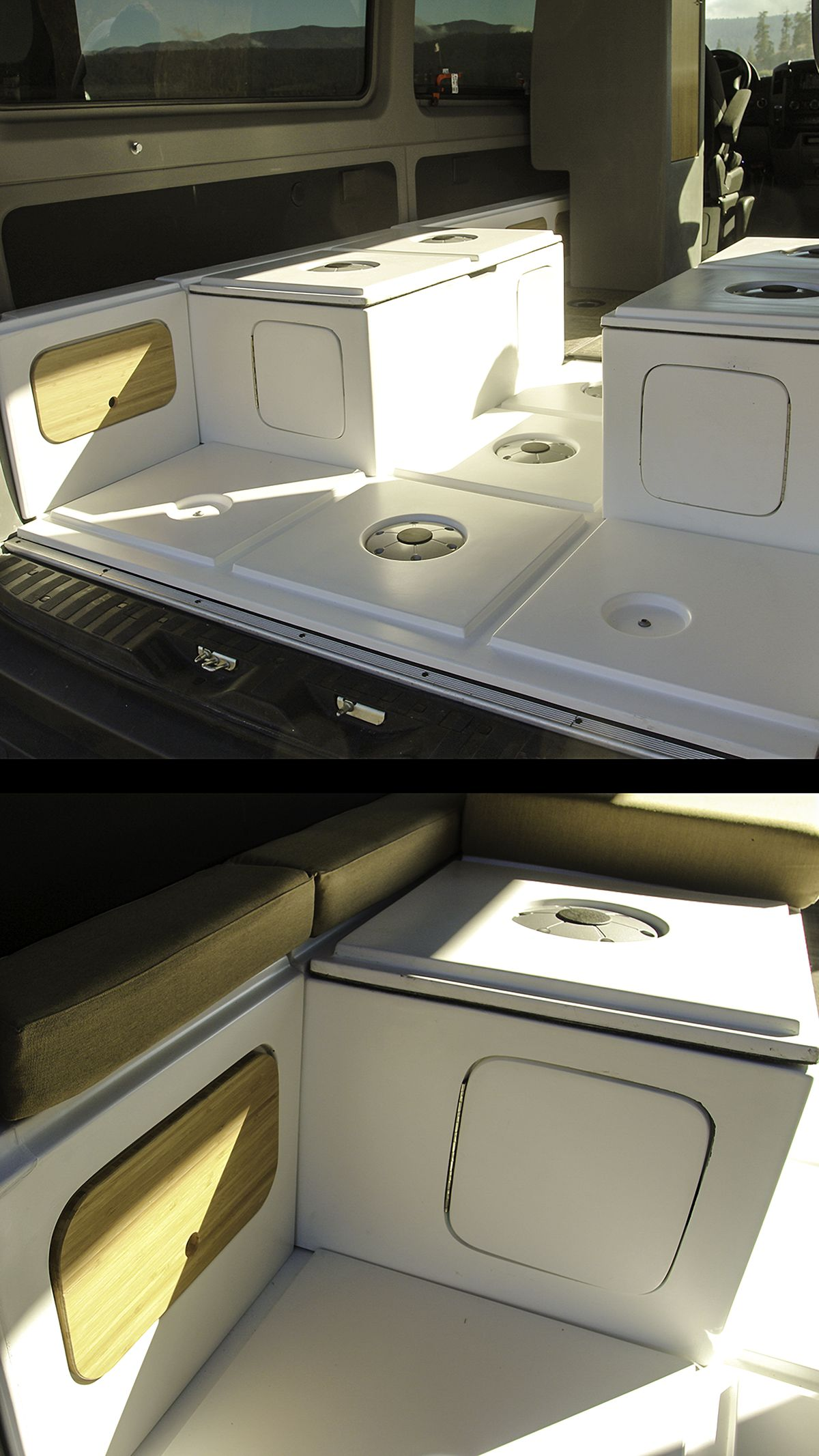 The white fiberglass floors have boxes that cover the wheel wells and storage in the white cubes.
