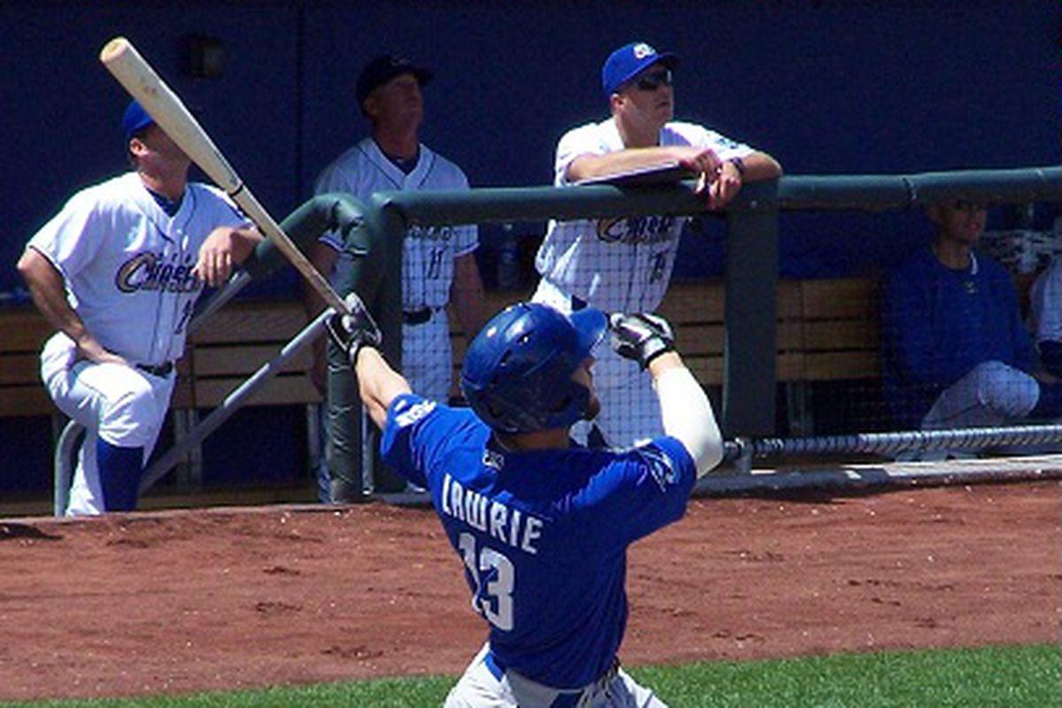 Brett Lawrie hitting a home run in 2011