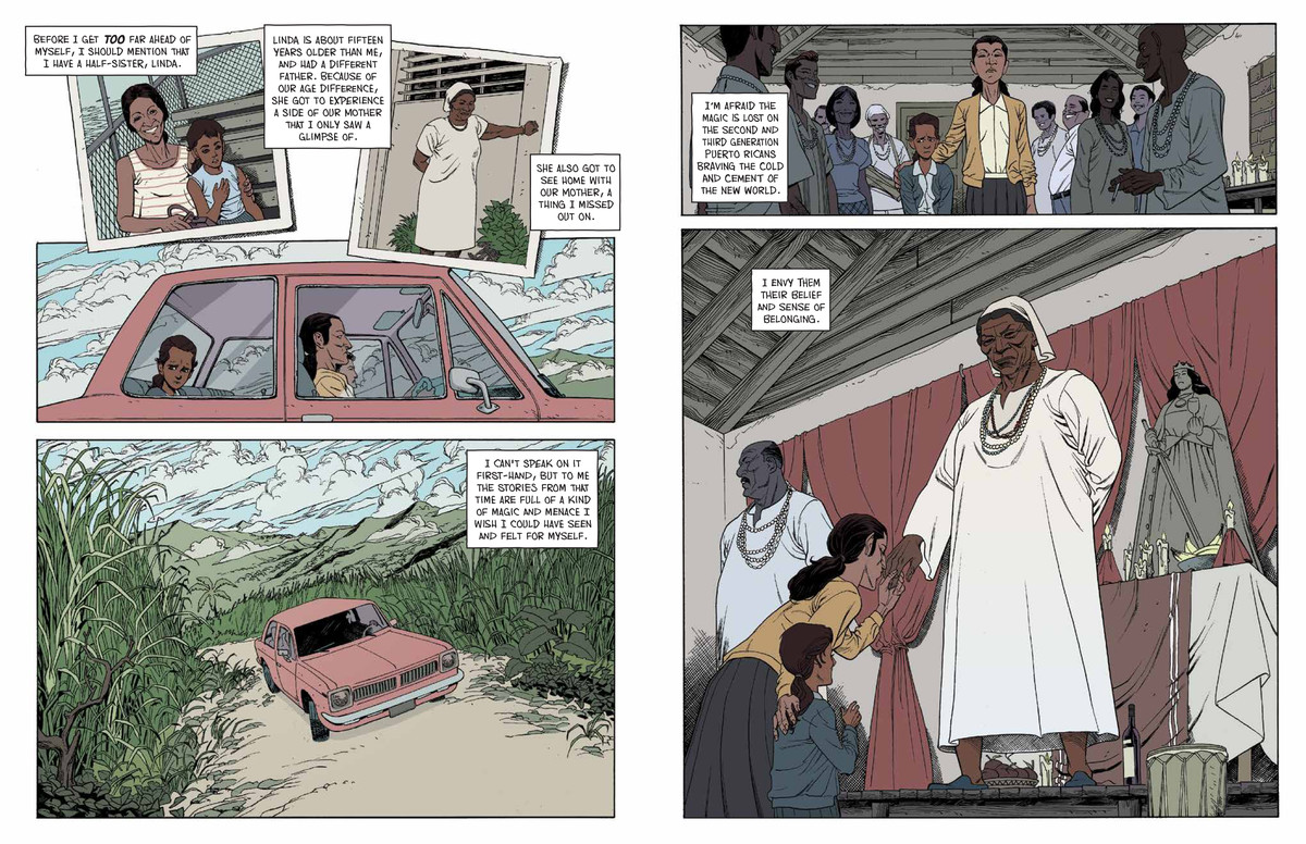 The narrator's mother Blanca takes her daughter to a local Santería gathering in Puerto Rico, as he muses about how his relationship with the island and religion are different for having not grown up there, in Happiness Will Follow, Archaia.