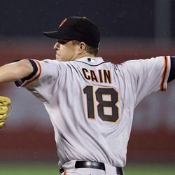 San Francisco Giants' Matt Cain works against the Oakland Athletics during the second inning of an exhibition baseball game Tuesday, April 3, 2012, in Oakland, Calif.