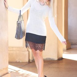 """Shea of <a href=""""http://peaceloveshea.com""""target=""""_blank"""">Peace Love Shea</a> is wearing a Zara dress, an <a href=""""http://www.aninebing.com/collections/new-arrivals/products/beige-flat-knitted-sweater""""target=""""_blank""""> Anine Bing</a> sweater, <a href=""""htt"""