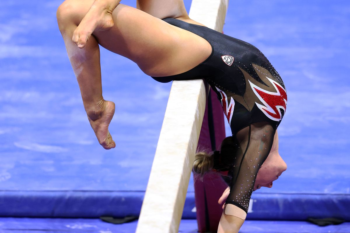 Maile O'Keefe performs her performs her Beam routine as Utah and Washington compete in an NCAA gymnastics match at the Huntsman Center in Salt Lake City on Saturday, Jan. 30, 2021. #4 Utah won 197.475 to 193.300.