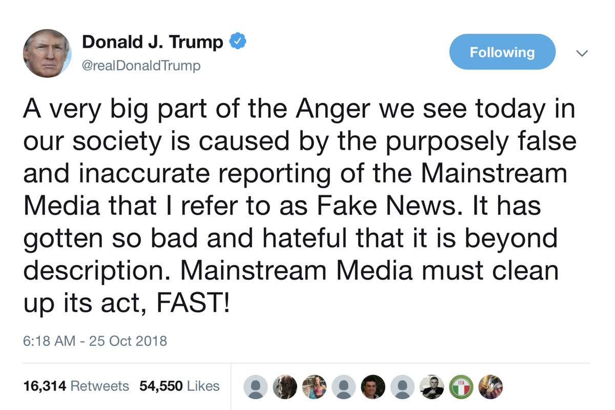 Trump Tweet Blames Media For Bombing Vox