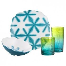 Dinner Plate in Turquoise $3.99, Cereal Bowl in Turquoise $3.49, Small Tumbler in Blue/Green $3.49, Large Tumbler in Blue/Green $3.99