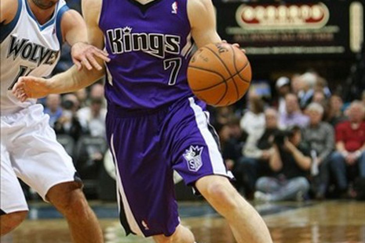 Feb 7, 2012; Minneapolis, MN, USA; Sacramento Kings guard Jimmer Fredette (7) against the Minnesota Timberwolves at the Target Center. The Timberwolves defeated the Kings 86-84. Mandatory Credit: Brace Hemmelgarn-US PRESSWIRE