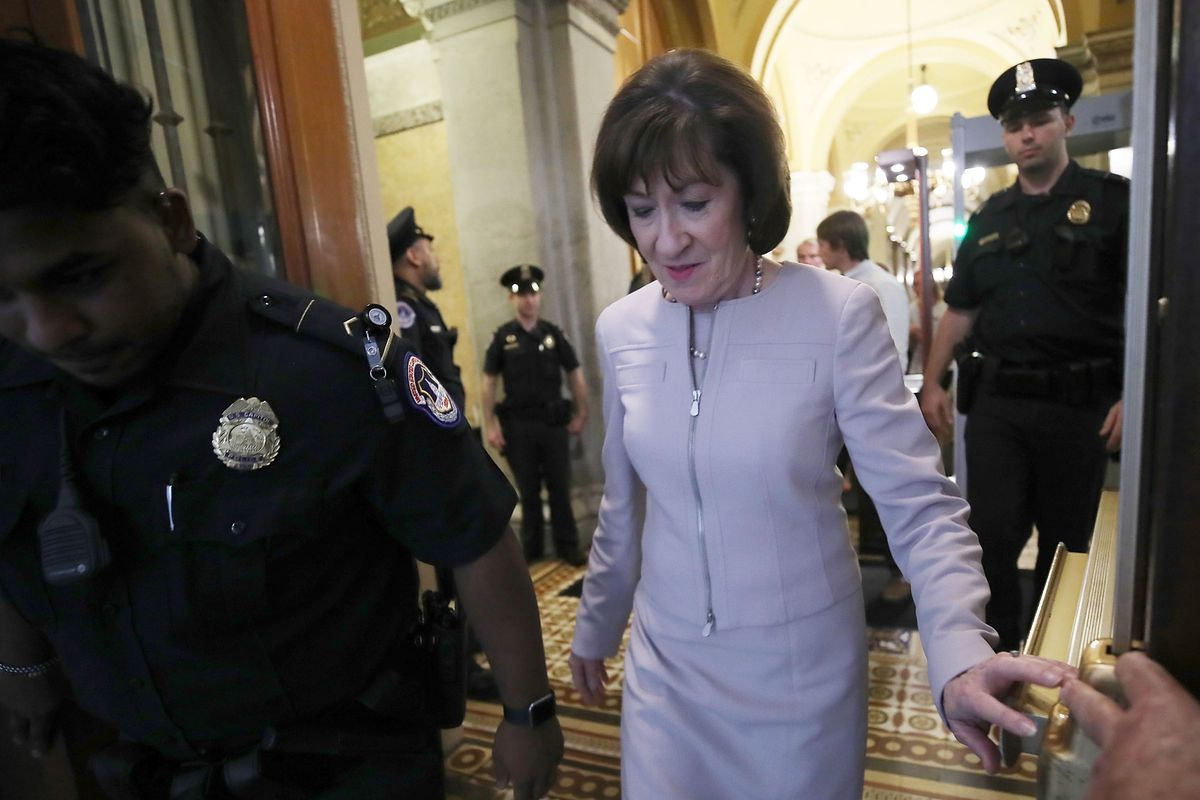 Sen. Susan Collins (R-ME) leaving the Capitol after announcing that she would vote to confirm Supreme Court nominee Brett Kavanaugh