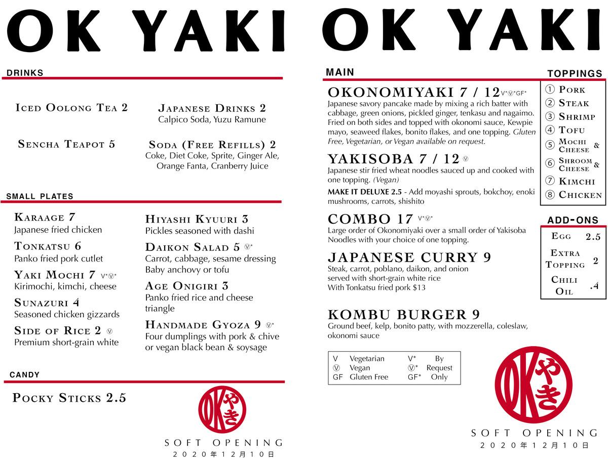 the menu for Japanese street food restaurant Ok Yaki in East Atlanta