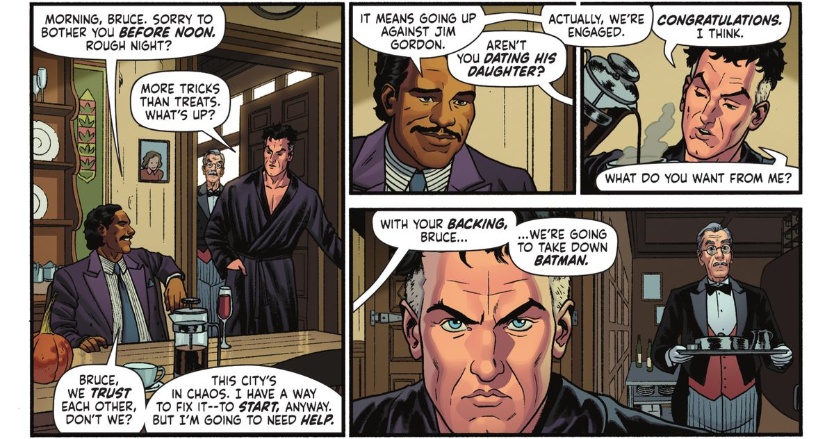 Harvey Dent visits Bruce Wayne to request his help in taking down Batman in Batman '89 #1 (2021).