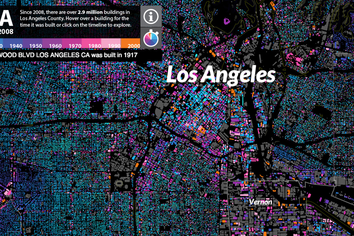 Fantastic Map Dates Every Last Building In Los Angeles Curbed La