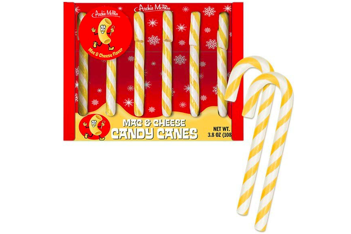 Archie McPhee's mac-and-cheese candy canes