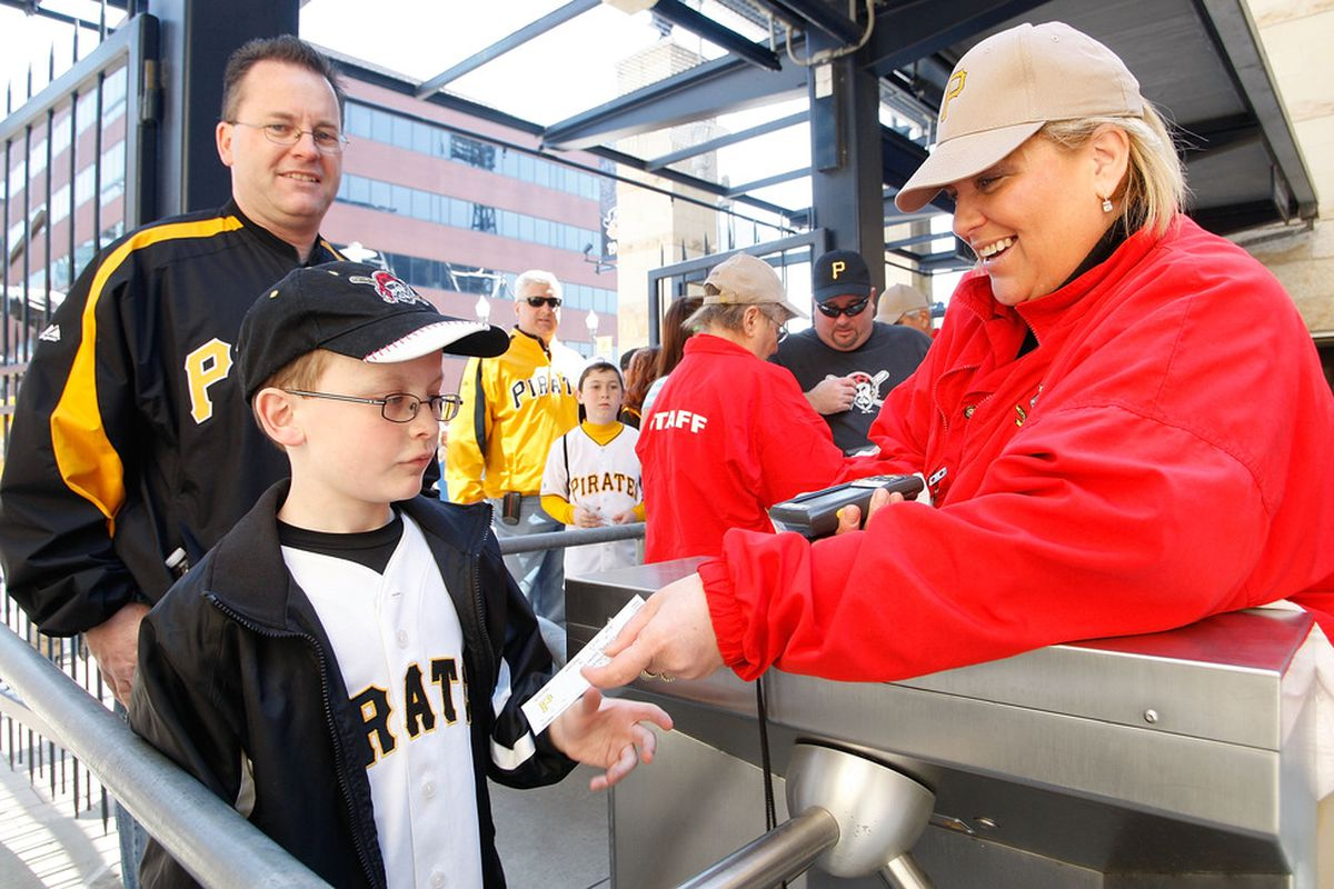 PITTSBURGH - APRIL 07:  Fans enter PNC Park prior to the Opening Day game between the Pittsburgh Pirates and the Colorada Rockies on April 7, 2011 at PNC Park in Pittsburgh, Pennsylvania.  (Photo by Jared Wickerham/Getty Images)