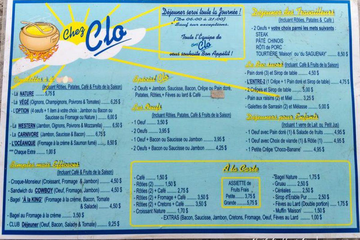 Chez Clo's menu