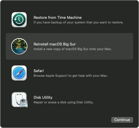 """In the Recovery window, find """"Restore From Time Machine Backup."""""""