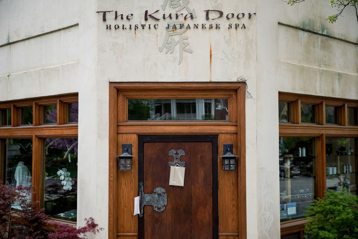 The Kura Door spa in Salt Lake City remains closed on Friday, May 1, 2020, despite loosened restrictions related to COVID-19.