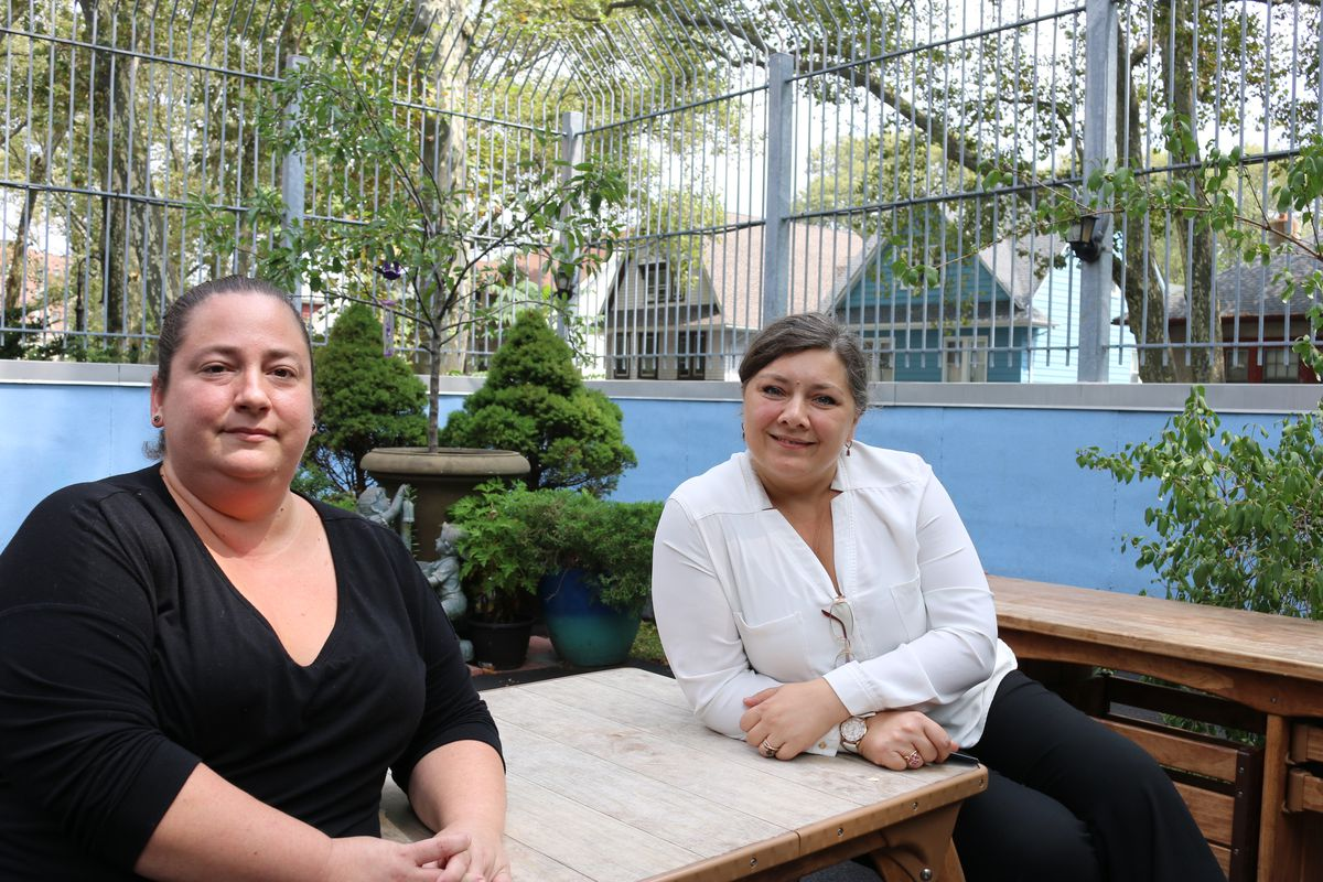 Pre-K teacher Jennifer Corre, left, and Oksana Grebenyuk, right, the education director of Kaleidoscope pre-K in Ditmas Park, decided to become unionized just before a deal was announced to substantially raise teacher pay.