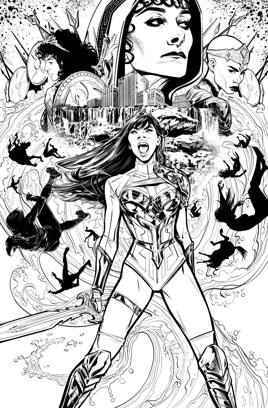 Yara Floor screams at the sky, sword in hand, surrounded by mysterious amazon faces and a crashing whirlpool of water, on the black-and-white cover of Wonder Girl #1, DC Comics (2021).