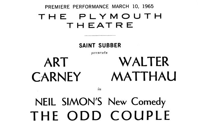 Carney and Matthau in The Odd Couple