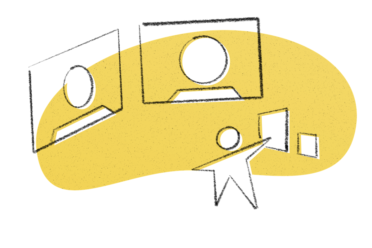 An illustration of a conference call with a figure holding up two pieces of paper.