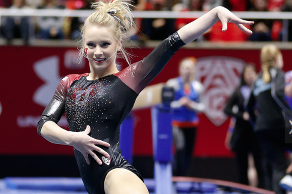 Georgia Dabritz scored a perfect 10 on the bars and won the all-around in Utah's dual meet against Arizona.