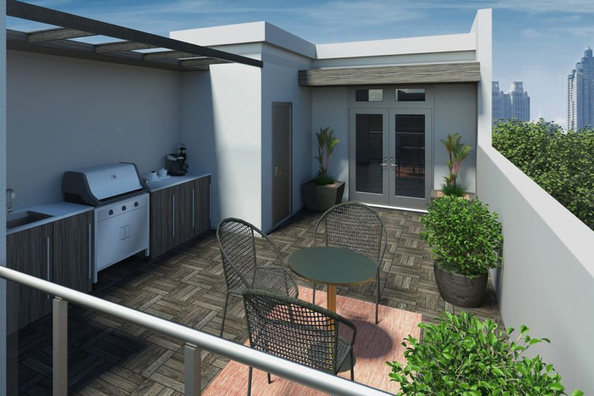 A rendering of the rooftop of a new townhome development in Old Fourth Ward Atlanta.