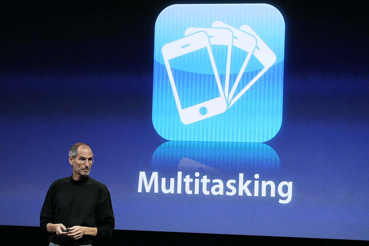 Steve Jobs unveils new software for iPhone and iPad back in 2008.