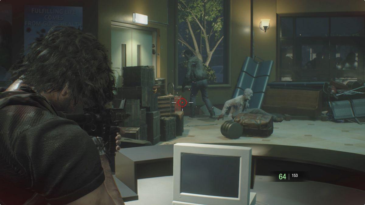 Resident Evil 3 Carlos Defend Jill Hospital Lobby