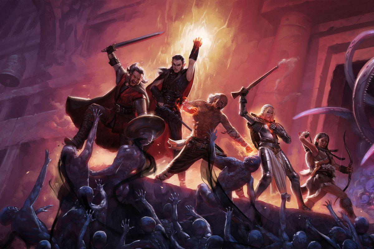 digital artwork from Pillars of Eternity of warriors fighting zombie types.