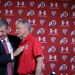 University of Utah director of athletics Chris Hill and University of Utah club lacrosse head coach Brian Holman speak after a press conference where an announcement was made that the university will begin sponsoring men's lacrosse as an NCAA sport starting in 2018-19 at the university in Salt Lake City on Friday, June 16, 2017.