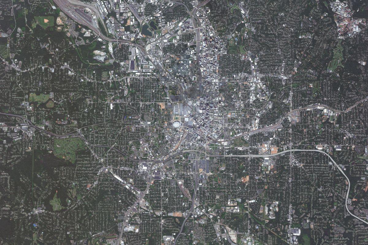 ATLANTA, GEORGIA - JULY 29, 2018: DigitalGlobe imagery of Atlanta, Georgia.