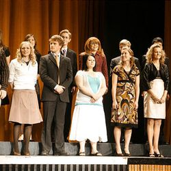 Finalists in the social sciences category take the stage at Cottonwood High School during the Sterling Scholar awards ceremony on Wednesday night.