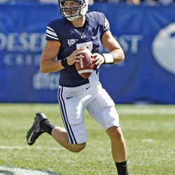 Brigham Young Cougars quarterback James Lark (7)as Brigham Young University defeats Weber State University in football 45-6 Saturday, Sept. 8, 2012, in Provo, Utah.
