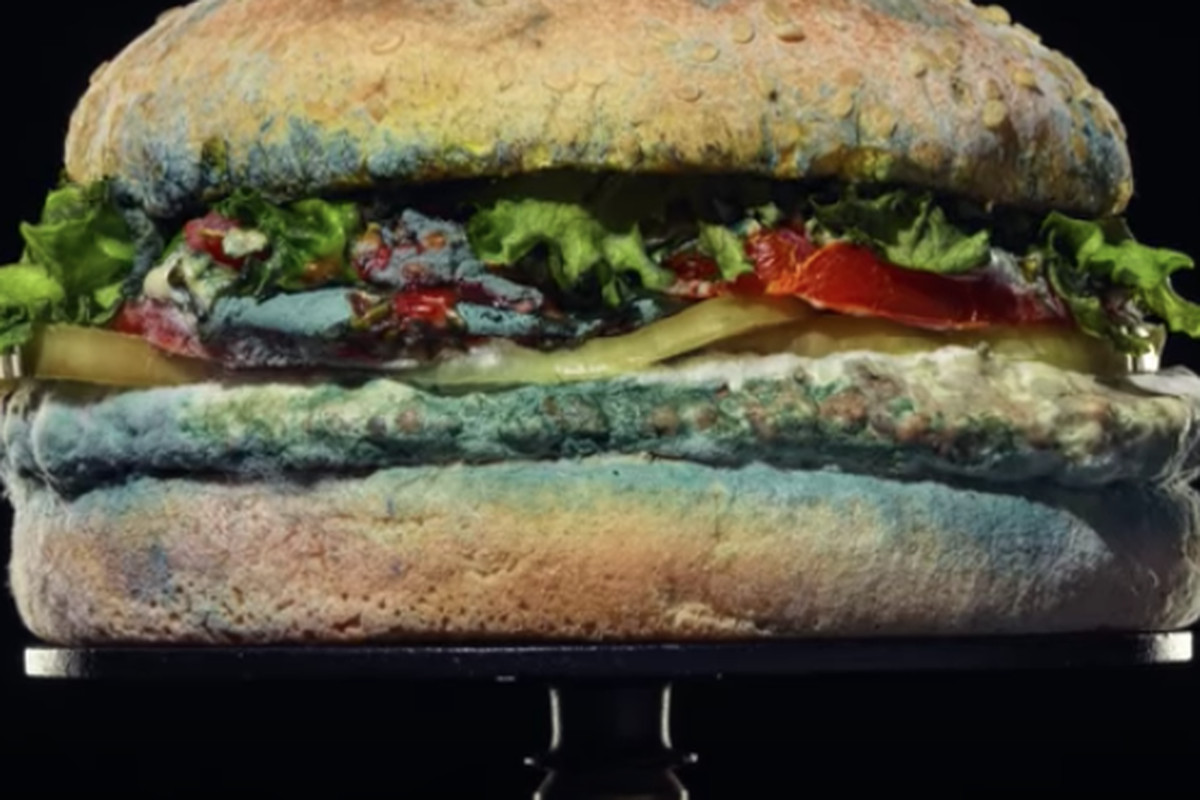 """The lateset Burger King ad is a time-lapsereferencingthe number of days passed since the sandwich was prepared and showing the growth of mold. It includes a line that reads, """"The beauty of no artificial preservatives."""""""