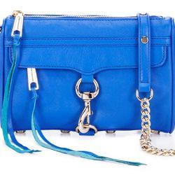 "Rebecca Minkoff Mini M.A.C., <a href=""http://www.rebeccaminkoff.com/shop/handbags/mini-mac-bright-blue.html"">$195</a>"