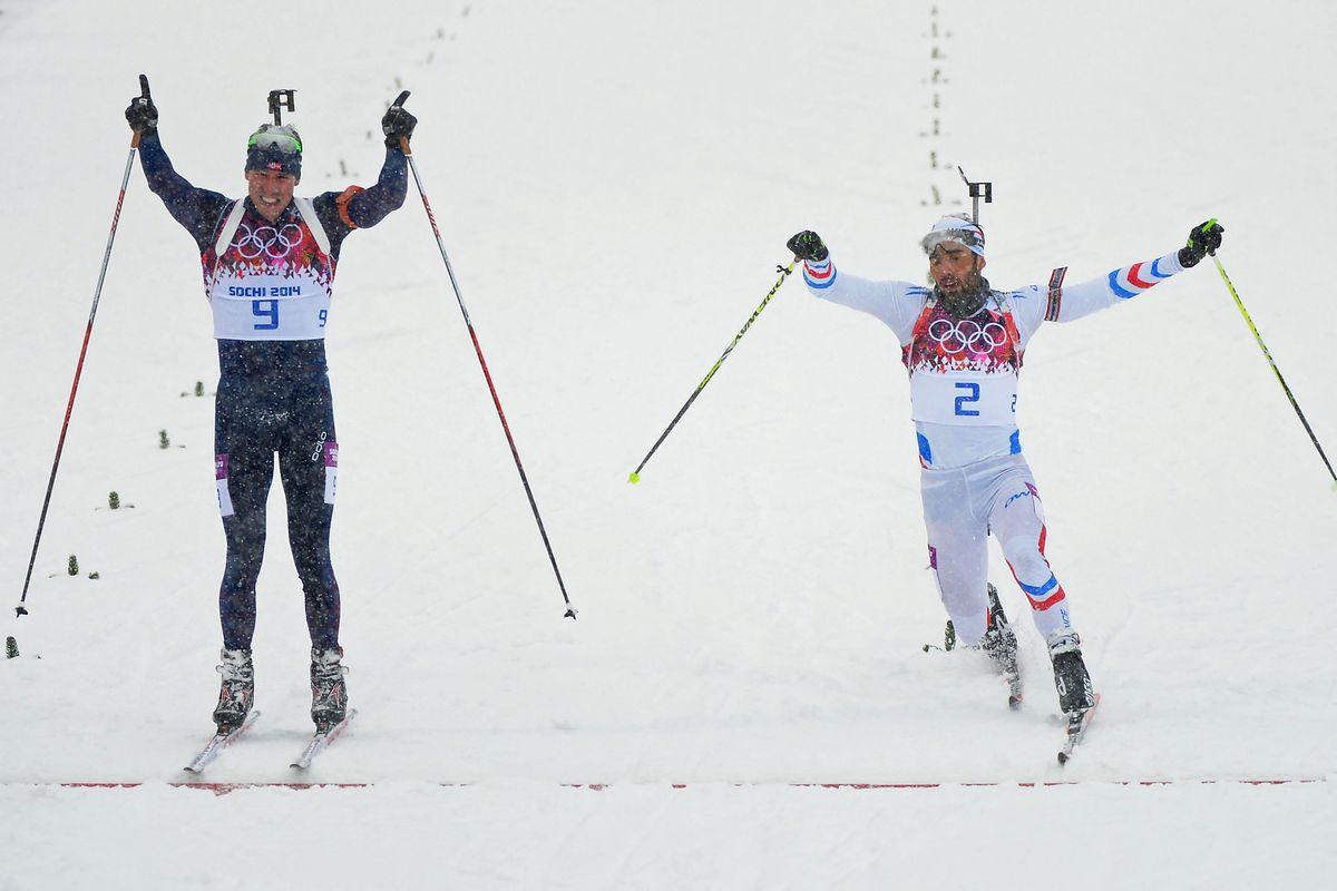 Emil Hegle Svendsen, left, and Martin Fourcade