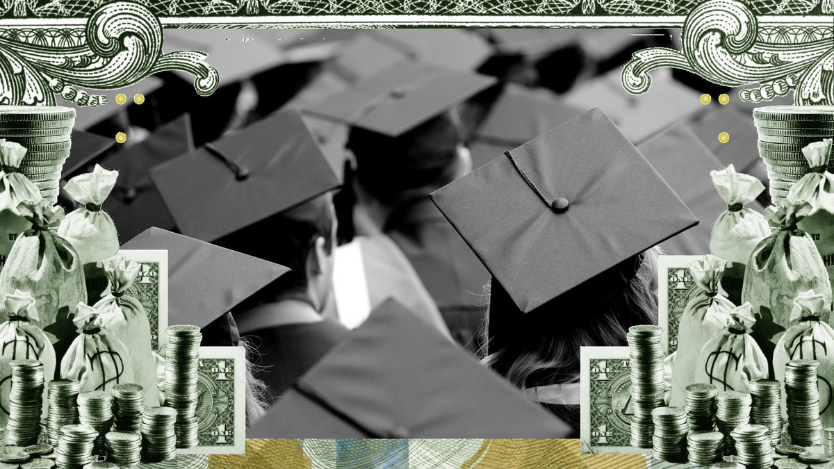 A photo illustration of a sea of young people in graduation caps, surrounded by coins and bills.