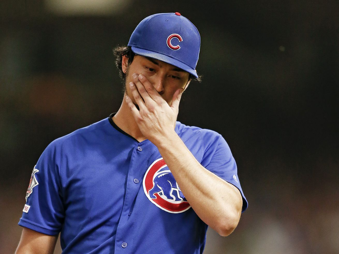 Yu Darvish leaving the mound after the third inning Wednesday night.