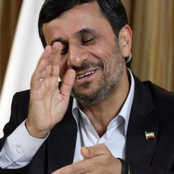 Mahmoud Ahmadinejad, President of the Islamic Republic of Iran, reacts during an interview with the Associated Press on Thursday, Sept. 22, 2011 in New York.
