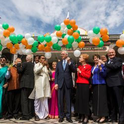 Elder D. Todd Christofferson, center, a member of the Quorum of Twelve Apostles for The Church of Jesus Christ of Latter-day Saints, and his wife, Sister Kathy Christofferson, join other members of the church, organizers and guests in releasing balloons as they approach Swami Vivekanand Mandap for the award ceremony in  MIT World Peace University in Pune, Maharashtra, India, on August 14, 2017.