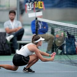 Players compete in the 5A girls tennis state championships at Salt Lake Tennis & Health Club on Saturday, Oct. 9, 2021.