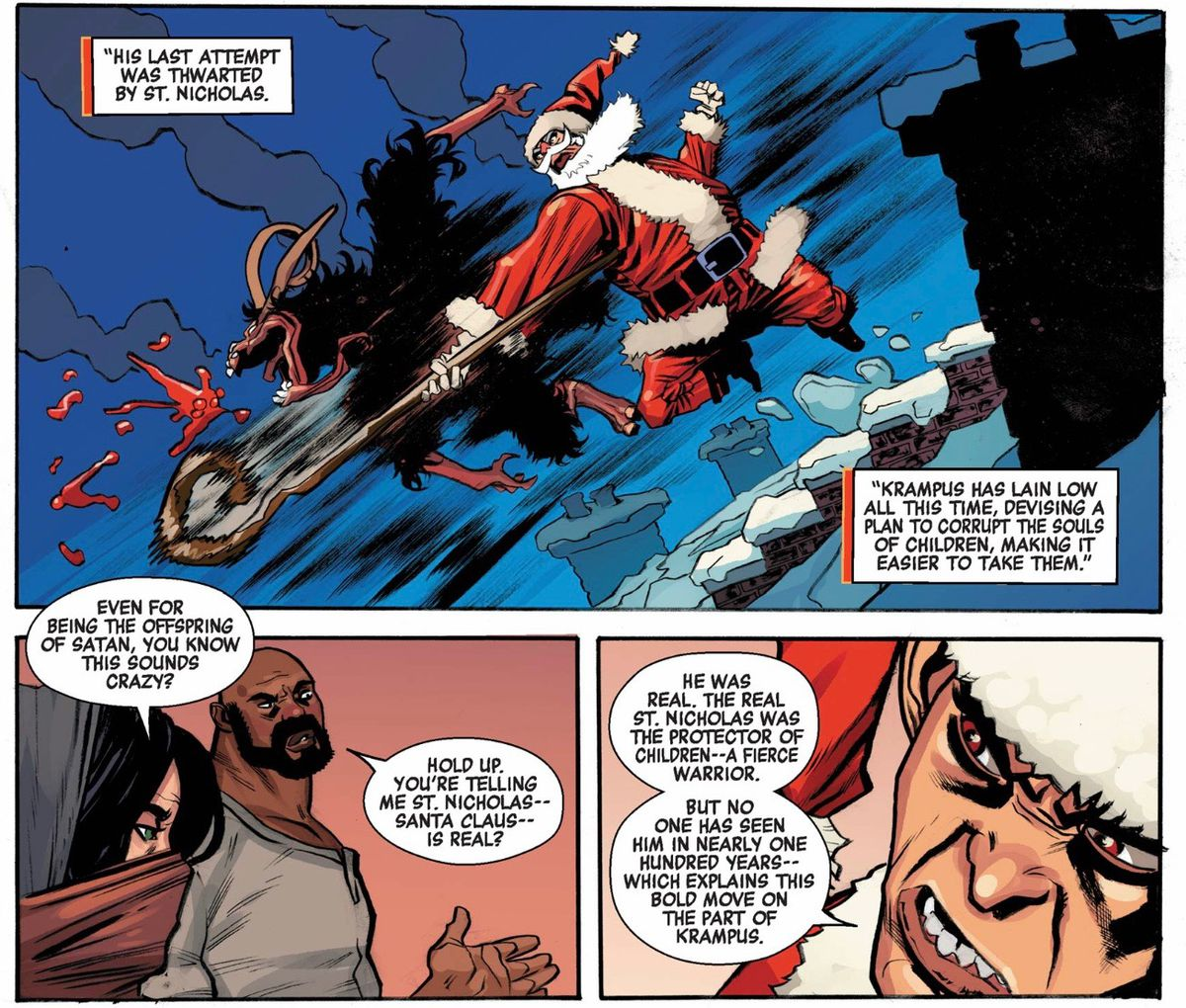 """""""You're telling me St. Nicholas — Santa Claus — is real?"""" asks Luke Cage, after finding out that St. Nicholas thwarted the Krampus a hundred years ago in Power Man and Iron Fist: Sweet Christmas #1, Marvel Comics (2016)."""