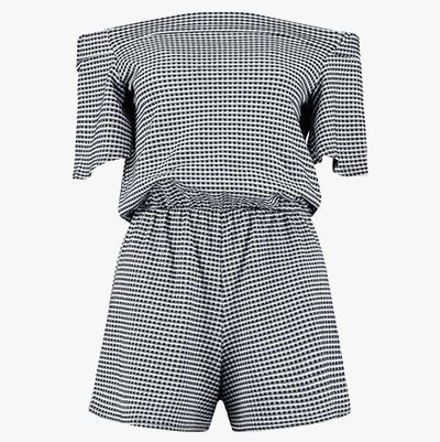 Black and white gingham jumpsuit